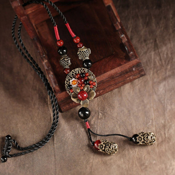 Chain Simple Women Pendant Ornaments Accessories Ethnic Style Necklace Fashion ACCESSORIES Red
