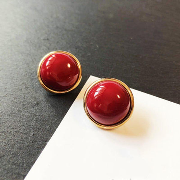 Cherry Red Silver Vintage French Earrings ACCESSORIES A