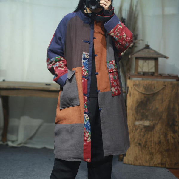 Chinese Style Patchwork Plus Size Winter Coat Nov 2020-New Arrival One Size As the picture