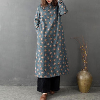 Chinese Style Vintage Loose Brushed Maxi Dress Winter Dress M Blue