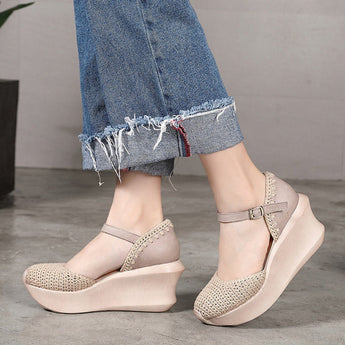 Closed Toe Plait Wedge Casual Style Shoes 2020 New January 35 Light Gray
