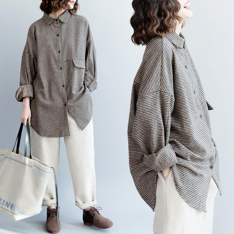 Coffee Plaid Thick Loose Lapel Coat Winter Coat