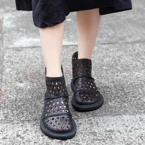 Comfortable Hollow Out Casual Summer Ankle Boots 2019 April New 35 Black
