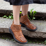 Comfortable Hollow Out Casual Summer Ankle Boots 2019 April New 35 Light Brown