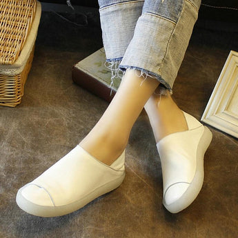 Comfortable Two-Method-To-Wear Platform Leather Loafers 2019 April New 35 White