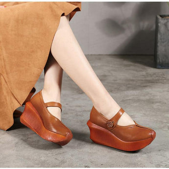 Cotton And Linen Casual Slope With Shallow Mouth Shoes September 2020 new arrival 35 light brown