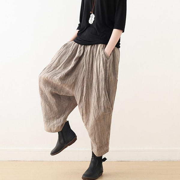 Cotton And Linen Lantern Wide-leg Pants September 2020 new arrival Brown