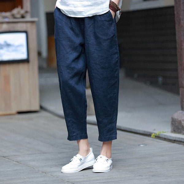 Cotton And Linen Women's Casual Cropped Pants Radish Pants June 2020-New Arrival Navy Blue S