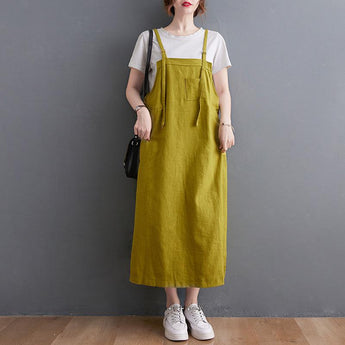 Cotton Linen A-line Strap Skirt May 2021 New-Arrival