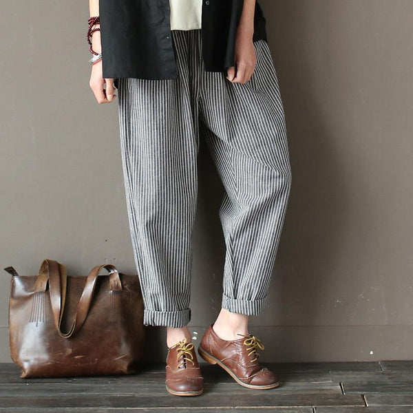 Cotton Linen Casual Loose Striped Pants March-2020-New Arrival One Size Gray