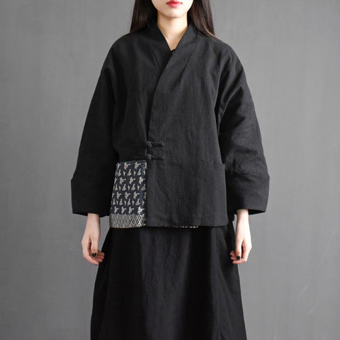 Cotton linen Chinese Style Short Retro Jacket Jan 2021-New Arrival One Size Thick Black