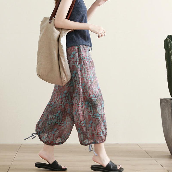 Cotton Linen Loose Printed Cropped Pants June 2020-New Arrival S As the picture