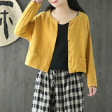 Cotton Linen Short Solid Women Autumn Coat Spring And Autumn Coat