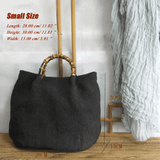 Cotton Linen Simple Bamboo Rattan Handle Casual Bag Crossbody Bag ACCESSORIES