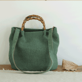 Cotton Linen Simple Bamboo Rattan Handle Casual Bag Crossbody Bag ACCESSORIES Large Green