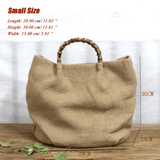 Cotton Linen Simple Bamboo Rattan Handle Casual Bag Crossbody Bag ACCESSORIES Small Khaki