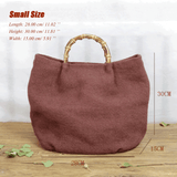Cotton Linen Simple Bamboo Rattan Handle Casual Bag Crossbody Bag ACCESSORIES Small Red