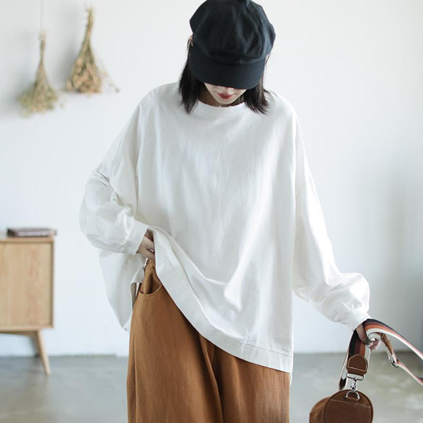 Cotton Pullover Sweater T-shirt September white