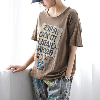 Cotton Short-sleeved Cartoon Printed T-shirt April 2021 New-Arrival One Size Coffee