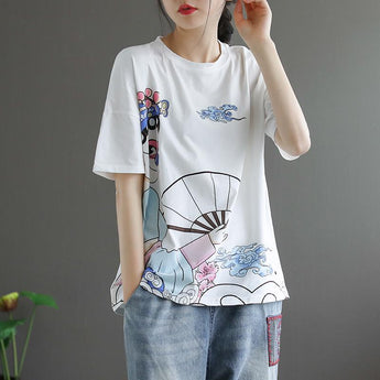 Cotton short-sleeved Casual Printed T-shirt April 2021 New-Arrival One Size White-blue