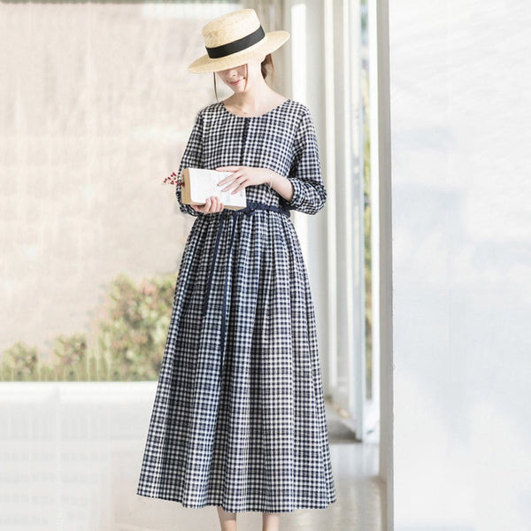 Crew Neck Plaid Drawstring Long Sleeve Dress March-2020-New Arrival M Navy Blue