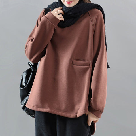 Crew Neck Pockets Solid Plush Sweatshirt 2019 New December One Size Coffee