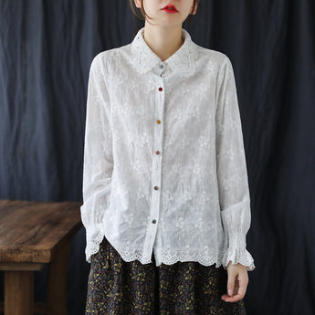 Cute White Embroidery Lace Long-sleeved Shirt Jan 2021-New Arrival One Size White