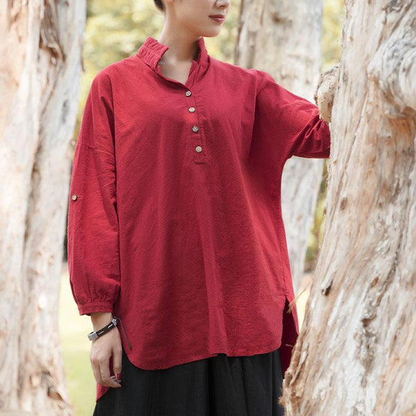 Dark Red Casual Loose Women Literature Long Sleeves Shirt Shirt