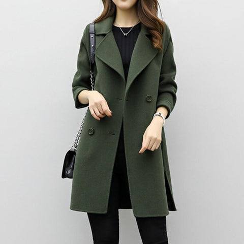 Double-breasted Causal Woolen Coat Winter Coat