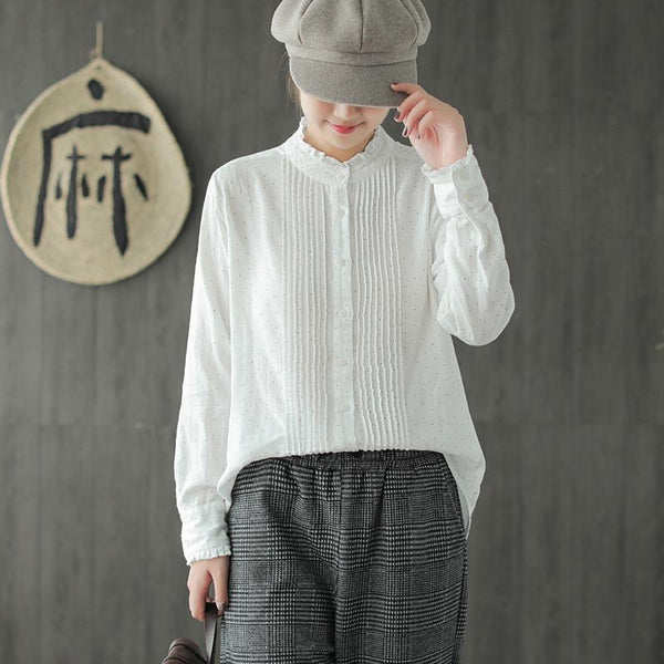 Double Cotton Pleated Polka Dot White Linen Shirt Nov 2020-New Arrival One Size White