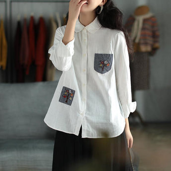 Double-layer Houndstooth Embroidered Linen Shirt Jan 2021-New Arrival One Size White