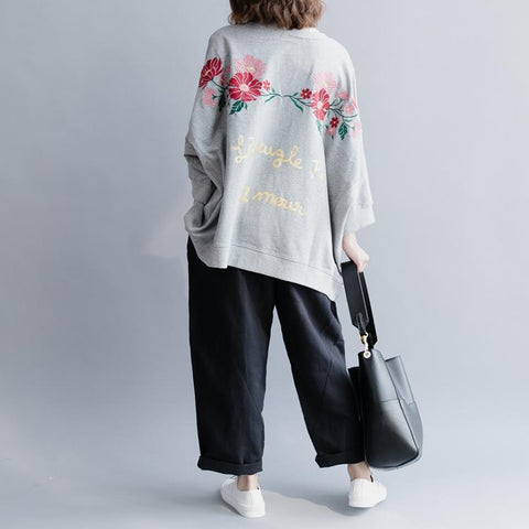 Embroidered Bat Sleeve Loose Cotton T-Shirt Shirt