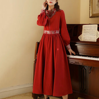 Embroidery Ethnic Style A-Line Gathered Waist Dress M-5XL 2020 New February M Date Red