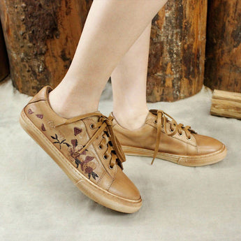 Embroidery Leather Lace Up Shoes 35 Camel