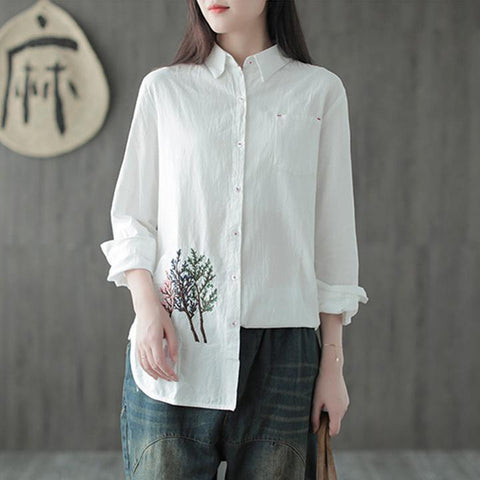 Embroidery White Women Cotton And Linen Shirt Shirt