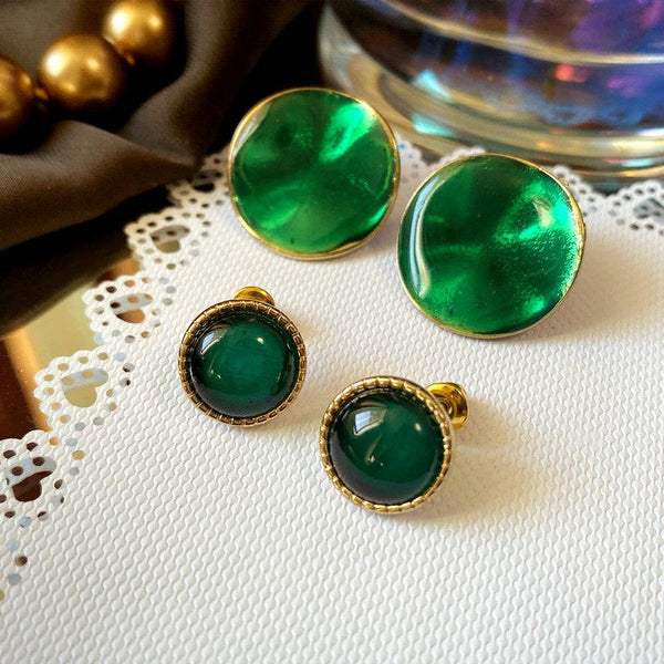 Emerald Vintage Green French Earrings ACCESSORIES