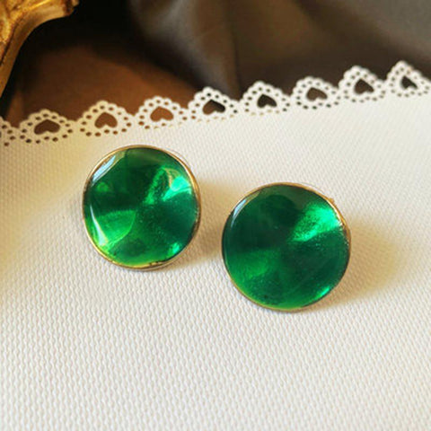 Emerald Vintage Green French Earrings ACCESSORIES A