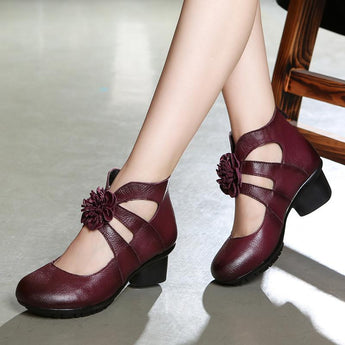 Ethnic leather women's shoes September September 2020 new arrival 35 brown