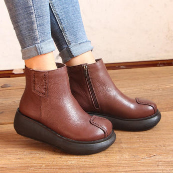 Ethnic Retro Thick Bottom Leather Boots Shoes