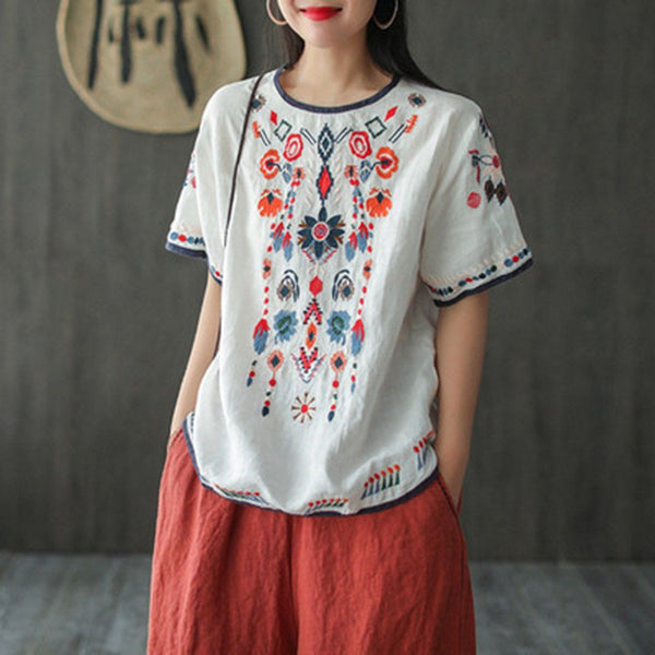 Ethnic Style Embroidery T-Shirt May 2020-New Arrival One Size White
