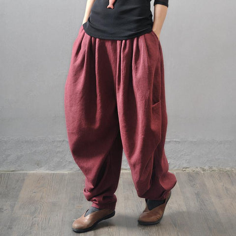 Ethnic Style Linen Thick Bloomers pants