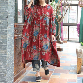 Ethnic Style Printed Cotton Loose Long Sleeve Dress Jan 25,2019