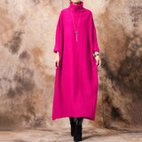 Fall/winter Plus Size Bat Sleeve Knit Sweater Dress Jan 2021-New Arrival XL Rose-red