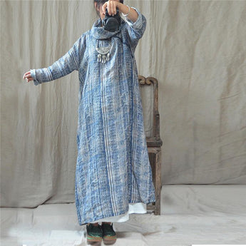 Fashion Autumn Printed Linen Loose Vintage Dress Long Sleeve Dress