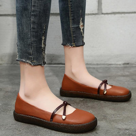 fashion casual daily round toe belts leather flat shoes