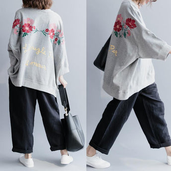 Fashion Embroidered Cotton Loose T-Shirt March-2020-New Arrival