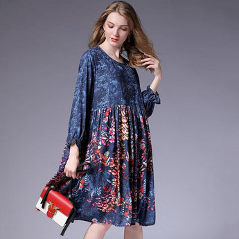 Fashion Loose Crew Neck Frill Sleeve Midi Dress 2019 March New XL Blue