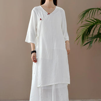 Female Retro National Style Cotton And Linen Long Shirt June 2020-New Arrival One Size White