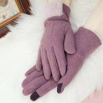 Five-finger Gloves Women Keep Warm Winter OCT purple ONE