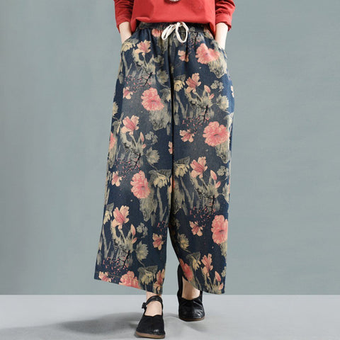 Floral Cropped Wide Leg Denim Pants 2020 New February L Deep Blue